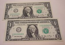 """One Dollar 2006 """"Two consecutive""""  Federal Reserve Notes..Circulated"""