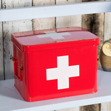 Retro Red Enamel EMPTY First Aid Kit Storage Box Medicine Tin Container Bathroom