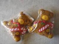 Lot of 2 Vintage Cloth Bear Christmas Ornaments LOOK