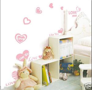 LOVE HEARTS & LOVE YOU Kids Wall sticker for Kids room/Nursery, 16 wall stickers