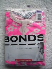BNIP Baby Girl's Bonds Pink Floral Zip Wondersuit/Coverall/Sleeper Size 0