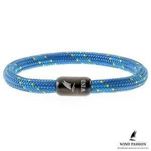Wind Passion Blue Waterproof Sturdy Rope Black Magnet Bracelet for Men Women