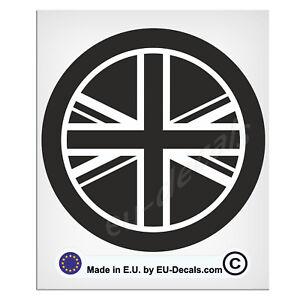 100mm-4'' Round UK Flag Black & White Union Jack Laminated Decal Sticker classic