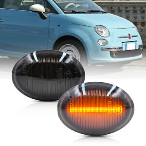 Smoke Lens Amber Led Side Marker Light for 2007-2019 Fiat 500 500e 500c Abarth