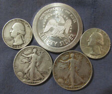 LOT 4 US SILVER COINS & 1 OZ .999 EAGLE ROUND 1943 S & 1943 S LIBERTY HALF $