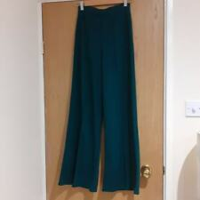 Excellent Condition Womens Fitted Wide Leg NEW LOOK Green Pleated trouser UK 8