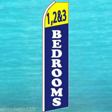 1 2 & 3 BEDROOMS FLUTTER FLAG Apt Rentals Tall Sign Feather Swooper Bow Banner