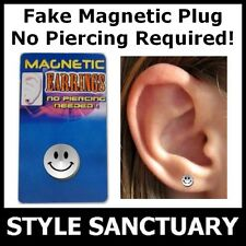 Magnetic Fake Flesh Plug Earring Ear Stud Smiley Face Clip-on Stretcher Piercing