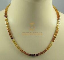 Hessonit-Granat Kette gelb brauner Zimtstein in Würfelform