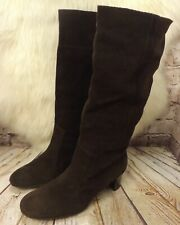 Womens Aerosoles Brown Suede Pull on Mid Heel Knee High Boots Size UK 8