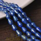 New 15pcs 12X8mm Gold Dust Teardrop Faceted Glass Loose Spacer Beads Deep Blue