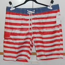 MEN'S OLD NAVY RED, WHITE AND BLUE BOARD SHORTS - SIZE XXLARGE BIG