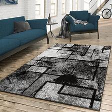 Teppich Wohnzimmer Modern Abstrakte Kunst Grau Schwarz Anthrazit