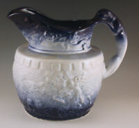 VTG ROCKINGHAM POTTERY DOG HANDLE, RUNNING STAG SALT GLAZE COBALT -WHITE PITCHER