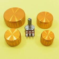 Linear B Stereo Potentiometer + 17mm Aluminium Gold Knobs Volume Control Ohm Cap