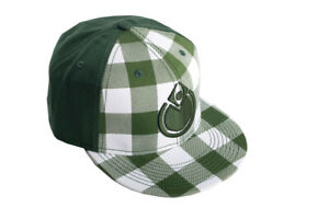 Nomis Simon Fitted Hat Baseball Cap Size 7 1/2 Green with Green and White Plaid