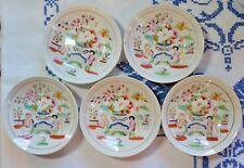 4 Tea Cups 5 Bowl Saucers Geisha People w/ Parasol Harp Florals Unmarked Japan?