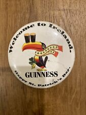 "Guinness Beer Pin Happy St. Patrick's Day 3"" Metal Pinback Button - Free S/H #1"
