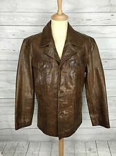 Mens Next Leather Safari Jacket - Large - Brown - Great Condition