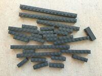 Lego: Lot de 26 briques grises   Dims:1x4 1x10 1x16   Mix of DkStone brick part
