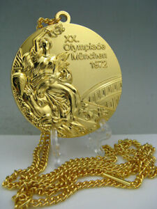 1972 Germany Munic Olympic Gold  Medal with Ribbons&Stand 1:1 **Free Shipping**
