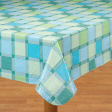 Seaside Blue Plaid Vinyl Tablecloth 60 x 120 Oblong Table Cover Dining Kitchen A