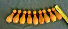 "Vintage Bowling Game Bowling Pins 9 Miniature 4"" Wood Pins"