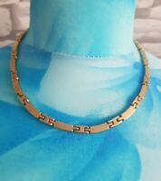 Vintage COLLAR Necklace Goldtone Solid Bar Link Chain Short Choker collar
