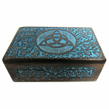 """New Blue Painted Triquetra Carved Wooden Box 5x8"""" Wood Celtic Knot Chest"""