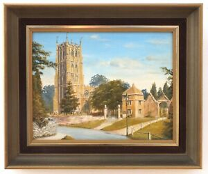 English Country Landscape Oil Painting Signed Framed Original Chipping Campden