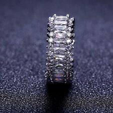 18k White Gold made w/ Swarovski Crystal Stone Eternity Ring Anniversary Band