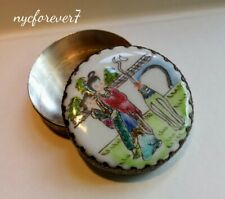 Porcelain Shard Trinket Jewelry Box w/ Mirror Metal Decor Circular Chinese