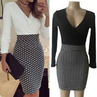 Women Lady Office Formal Business Cocktail Party Evening Slim Fit Pencil Dress