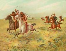 METAL MAGNET Cavalry Pursuing Native American Indian Western Horses MAGNET