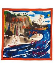 Juicy Couture Scarf Surf all Day Cruise all Night Raw Silk NEW $68