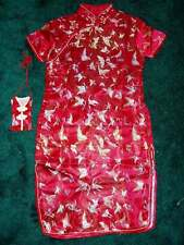 Niña Satén Mariposa Vestido Chino Negro Rosa Rojo Azul turquesa 9 m-16 Año