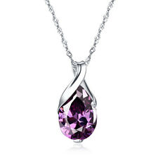 925 Sterling Silver Top Amethyst Angel tears Pendant Necklace Women's Jewelry