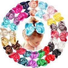 20 Pcs Silky Fabric 6 Inch Hair Bows Clips Baby Girls Toddlers Big Bow Accessory