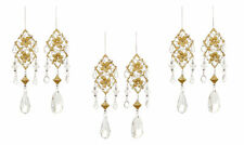 6 Vintage Style Gold & Crystal Hanging Christmas Tree Decorations SPECIAL PRICE