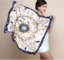 "Women's Fashion White Printed Silk Satin Square Scarf Shawl Wrap 35""x35"""