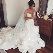 V-Neck Mermaid Lace Organza Long Train Bridal Gown Beaded Garden Wedding Dresses