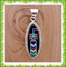 Wow Turquoise Spiny Lapiz Onyx Malachite Inlay .925 Sterling Silver Yie Pendant