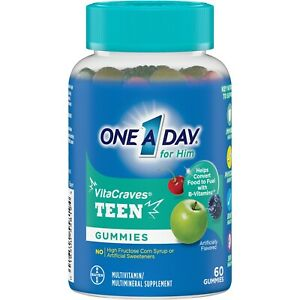 One A Day TEEN FOR HIM VitaCraves 60 GUMMIES MULTIVITAMIN / MINERAL SUPPLEMENT