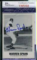 Warren Spahn 1977 Tcma Jsa Coa Hand Signed Authentic Autograph