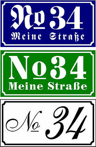 House Number Door Sign Name Badge Aluminium White Einbrennl