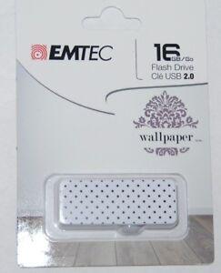 Emtec 16 GB Flash Drive USB 2.0 Wallpaper White NEW