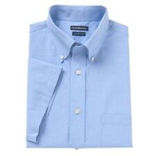 Croft & Barrow Size Large 16 1/2 -17 Blue Short Sleeve Classic Fit Dress Shirt