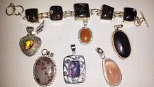 Pendant and bracelet lot - turitella, charoite, agate, quartz, onyx