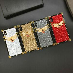 Square Crystal Glitter Bee Phone Case For Xiaomi 9 Redmi Note 9 K30 Pro POCO X3