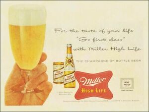 """MILLER HIGH LIFE CHAMPAGNE BEER 16"""" HEAVY DUTY USA MADE METAL ADVERTISING SIGN"""